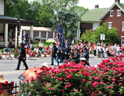 Armed forces in their uniforms walking down the crowd-lined street carrying flags during a city festival